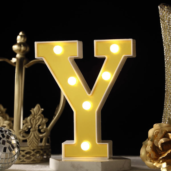 "6"" Gold 3D Marquee Letters - Warm White 6 LED Light Up Letters - Y"