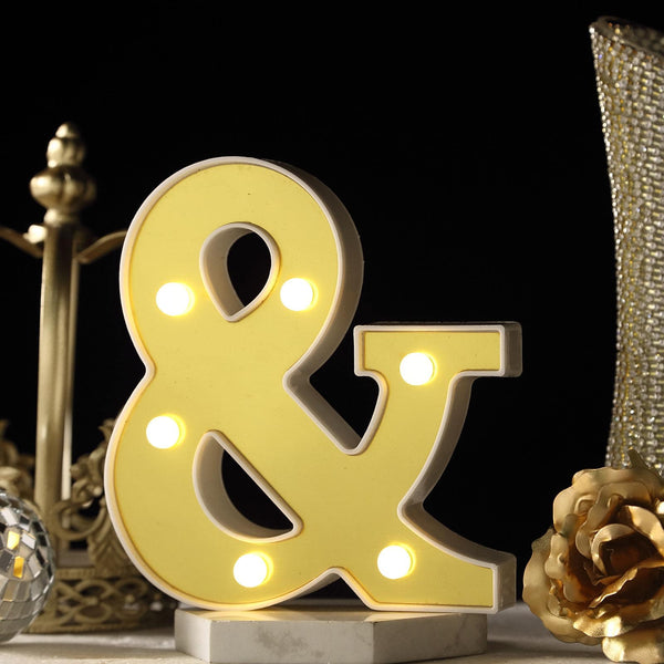 "6"" Gold 3D Marquee Symbol - Warm White 6 LED Light Up Symbol - &"