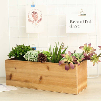 18 X6 Natural Rectangular Wood Planter Box Set With Removable
