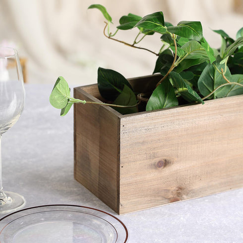 24x6'' Natural Rectangular Wood Planter Box Set With Removable Plastic Liners