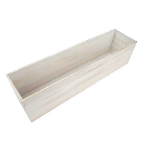 "24""x6"" Whitewash Rectangular Wood Planter Box Set With Removable Plastic Liners"