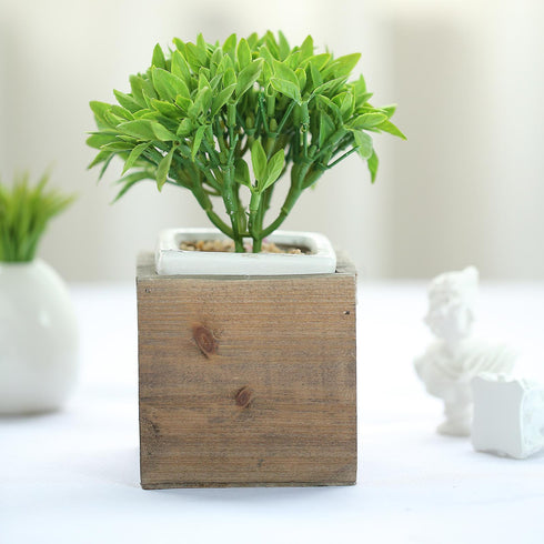 2 Pack | 4'' Natural Square Wood Planter Box Set With Removable Plastic Liners