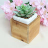 4 Pack | 4'' Natural Square Wood Planter Box Set With Removable Plastic Liners