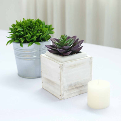 4 Pack | 4'' Whitewash Square Wood Planter Box Set With Removable Plastic Liners