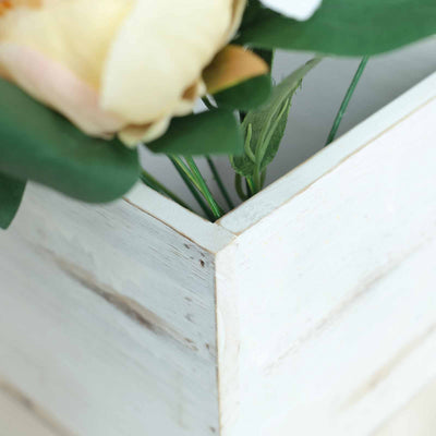 "4 Pack | 6"" Whitewash Square Wood Planter Box Set With Removable Plastic Liners"