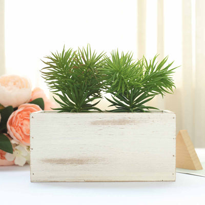 4 Pack 8x4 Whitewash Rectangular Wood Planter Box Set With