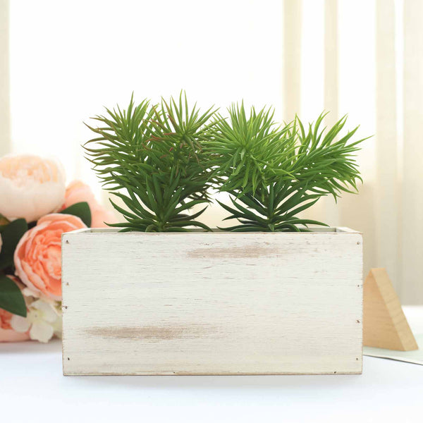 Pack of 4 | 8x4'' Whitewash Rectangular Wood Planter Box Set With Removable Plastic Liners