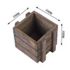 2 Pack | 4'' Square | Smoked Brown Rustic Natural Wood Planter Box Set With Removable Plastic Liners