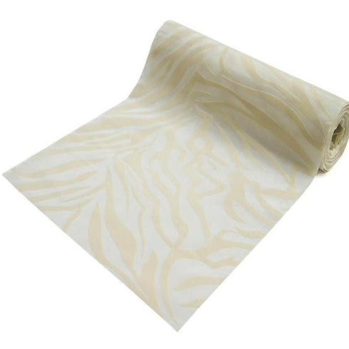 "Zebra Print Fabric By The Yard | Ivory/Ivory | 12"" x 10 Yards 