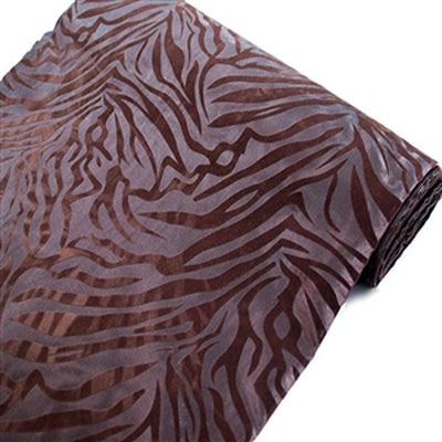 "54""x10 Yards Chocolate/Chocolate Flocked Taffeta Zebra Animal Print Fabric Bolt"