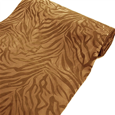 "54""x10 Yards Gold/Gold Flocked Taffeta Zebra Animal Print Wildlife Fabric By The Yard"