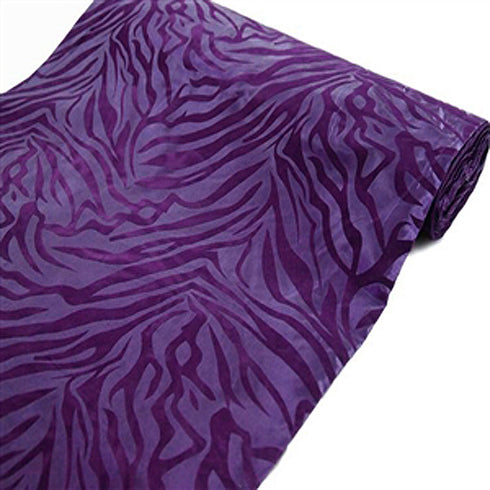 "54""x10 Yards Purple/Purple Flocked Taffeta Zebra Animal Print Fabric Bolt"