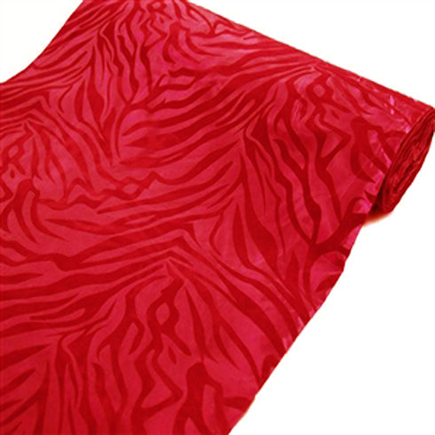 "Safari Zebra Fabric Bolt 54"" x 10Yards - Red / Red"