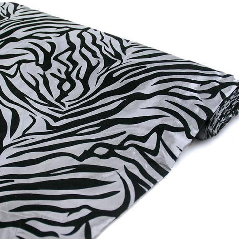 "Safari Zebra Fabric Bolt 54"" x 10Yards - Black / Silver"