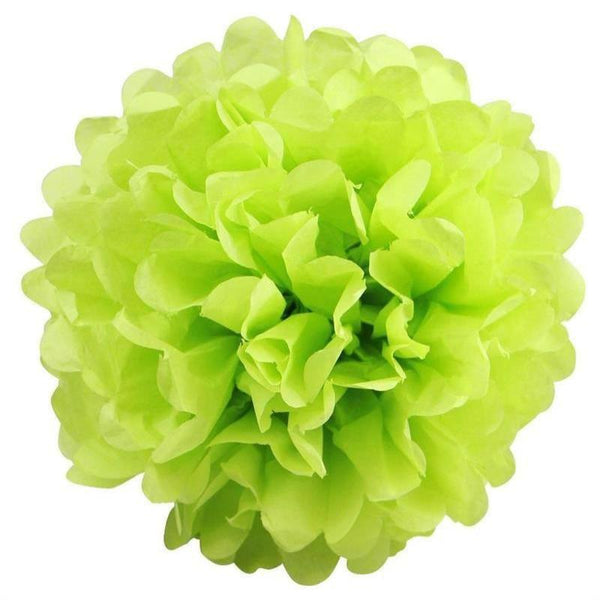 "6 Pack 16"" Apple Green Paper Tissue Fluffy Pom Pom Flower Balls"