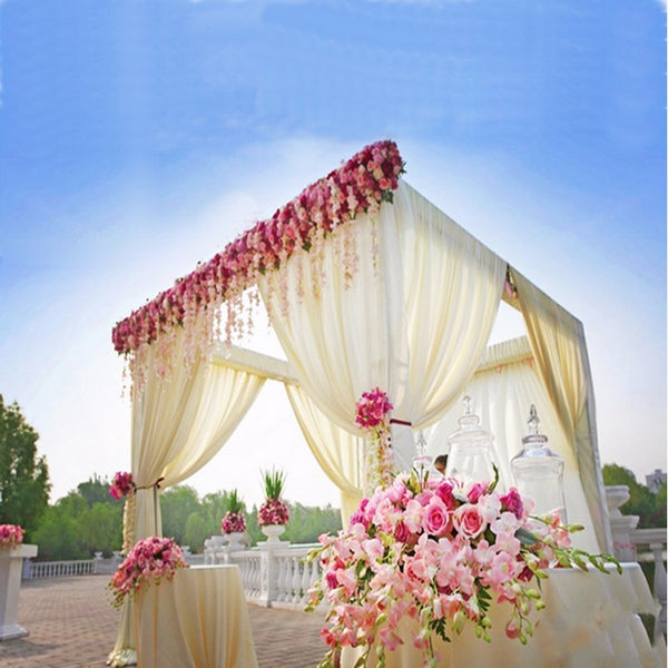 4 Post | 10FT x 10FT DIY Adjustable Wedding Backdrop Stand - Outdoor Canopy Tent Chuppah Modern Mandap - Metal Wedding Photo Exhibition Booth with Weighted Steel Base