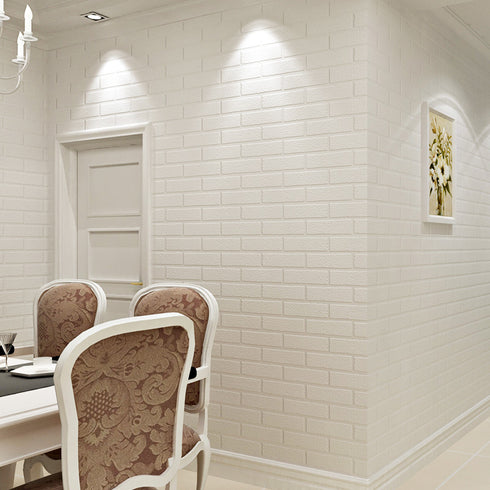 10 Pack | 58 Sq.Ft White Peel and Stick 3D Foam Brick Wall Tile