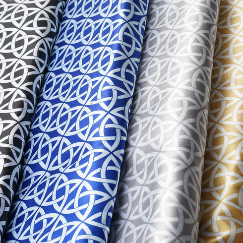 "54"" x 10 Yards Champagne Zen Patterns Printed Satin Fabric Bolts"