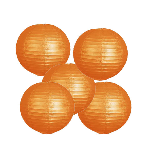 "12 Pack | 8"" Orange Round Chinese Paper Lantern"