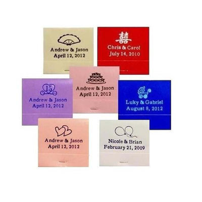 100 Pack Personalized Matchbook Wedding Favors With 30 Stem Matches