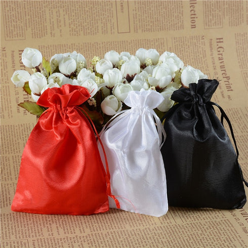 "12 Pack | 5""x7"" White Satin Favor Bags Party Drawstring Pouches"