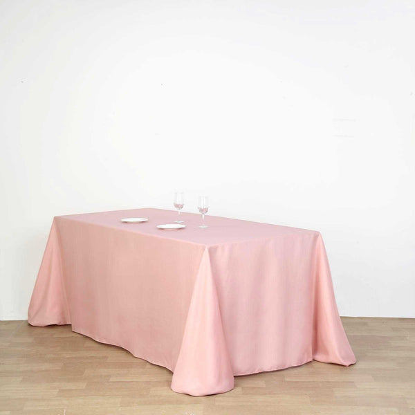 "90""x156"" Dusty Rose Polyester Rectangular Tablecloth"