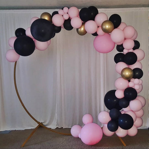 7 FT Tall - Gold Round Metal Wedding Arch, Photo Booth Backdrop Stand
