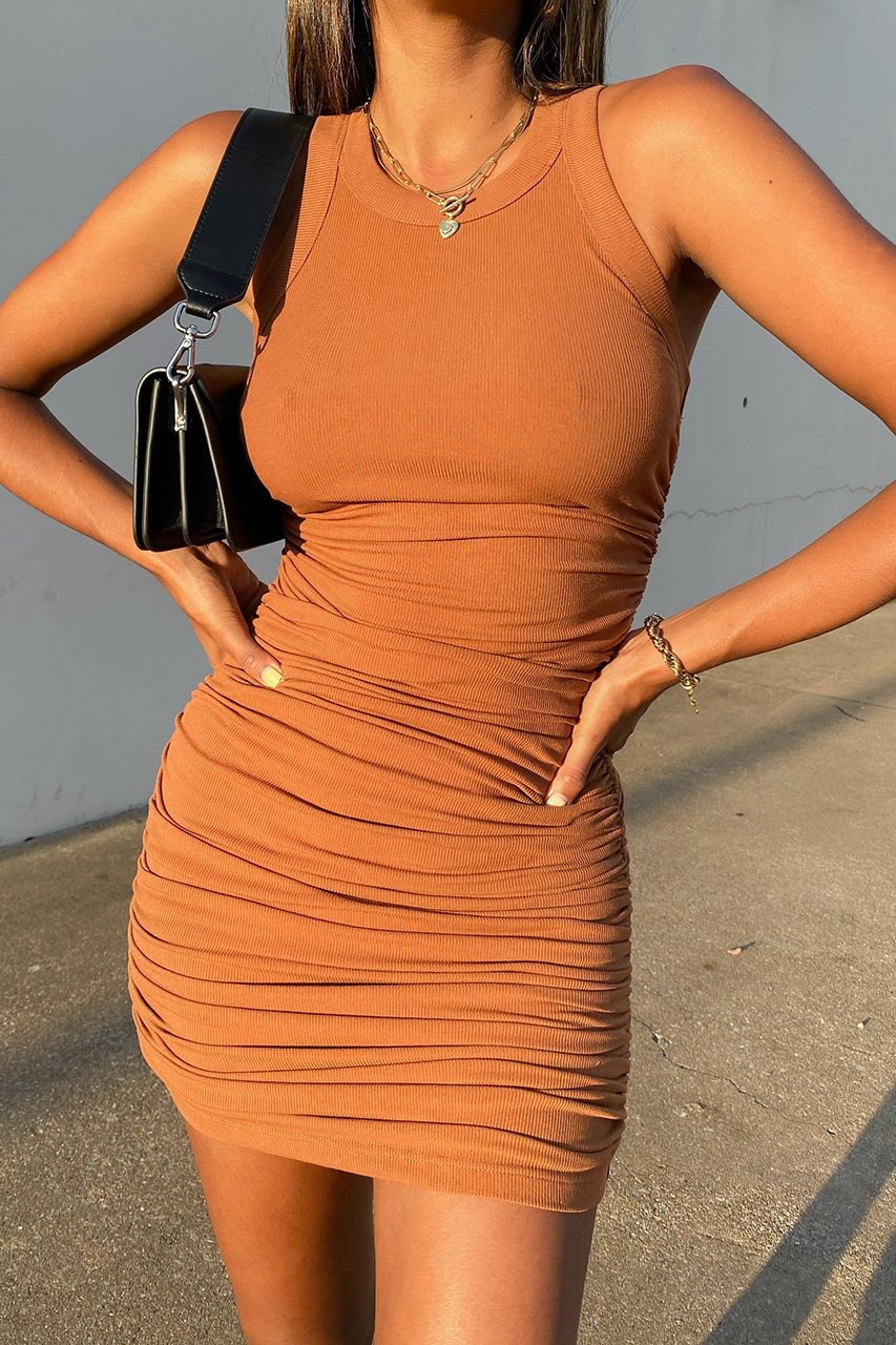 Tobacco Ruched Tank Dress
