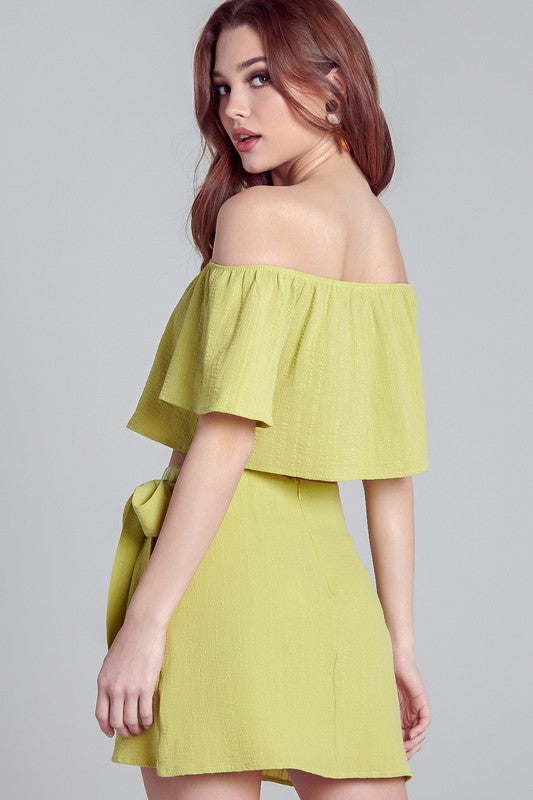 Lime Wrap Skirt Set