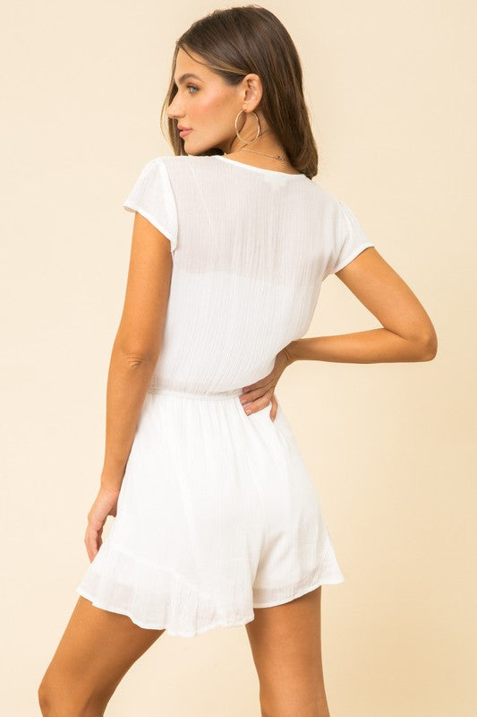 Embroidered White Romper