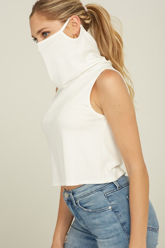 White Mask Cover Tank
