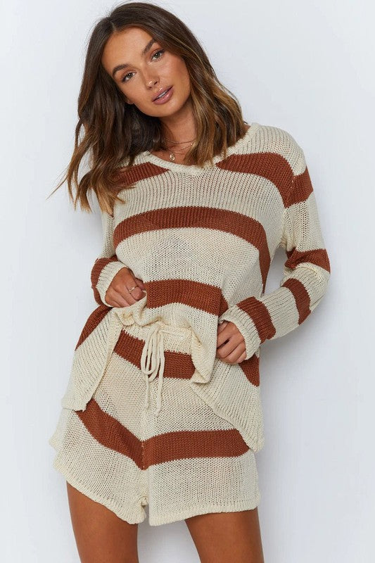Knitted Long Sleeve Stripe Set