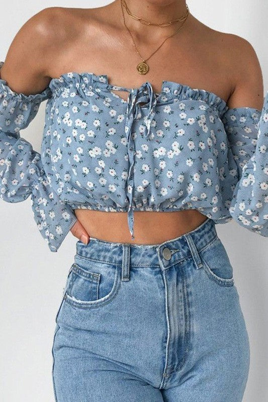 Blue Daisy Off Shoulder Top