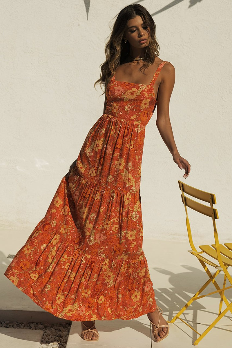 Holly Maxi Dress Rust Floral