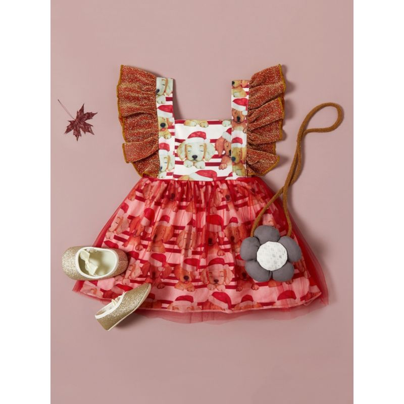 Oli & J Puppy Xmas Dress