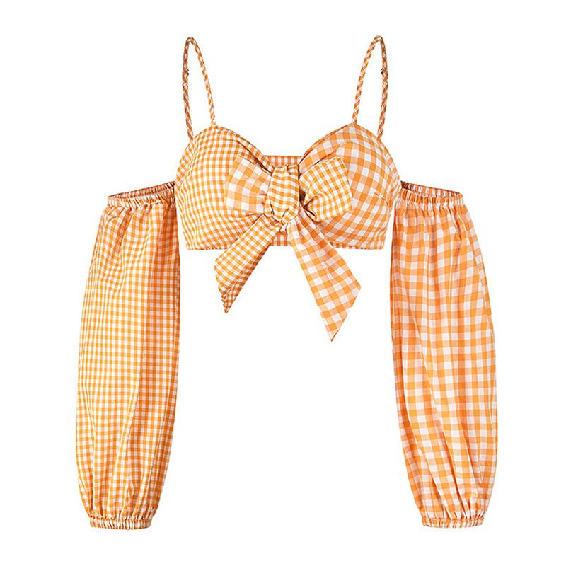 Orange Gingham Top