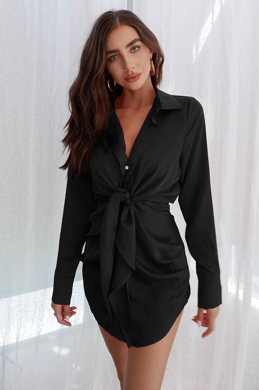 Ruby Black Shirt Dress