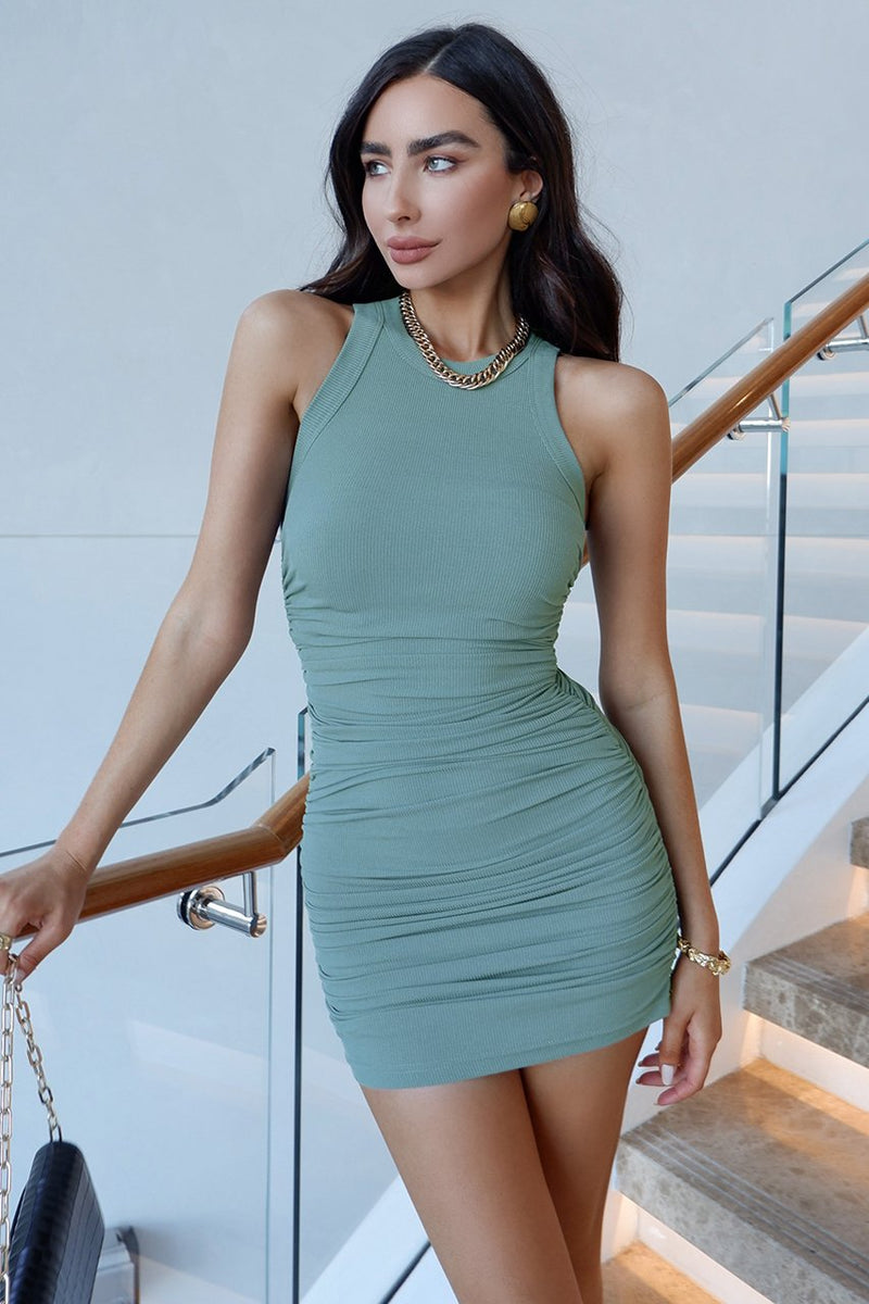 Teal Ruched Tank Dress