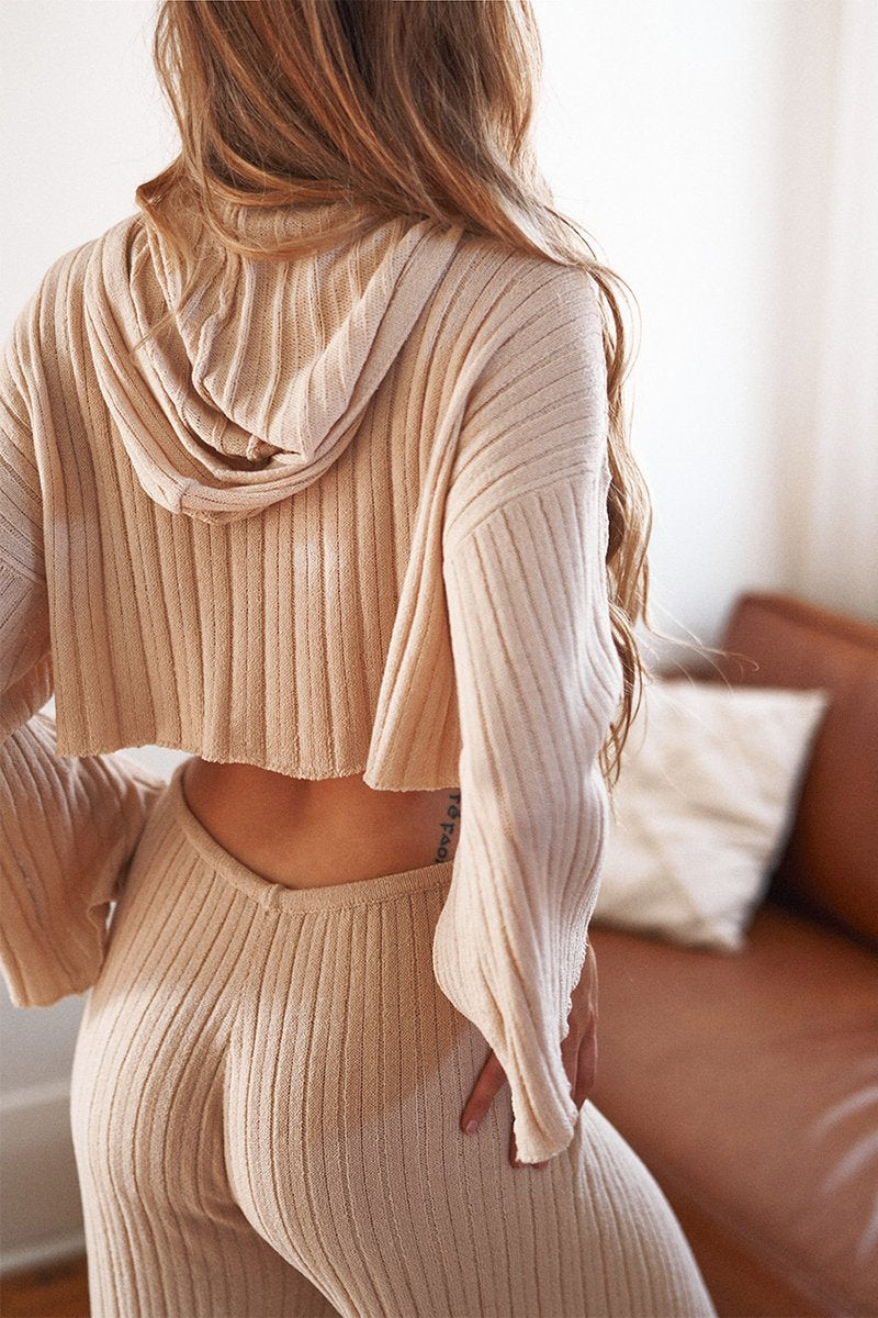 Sand Ribbed Knit Hoodie