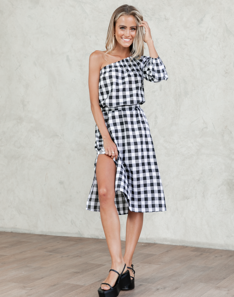 One Shoulder Gingham Midi
