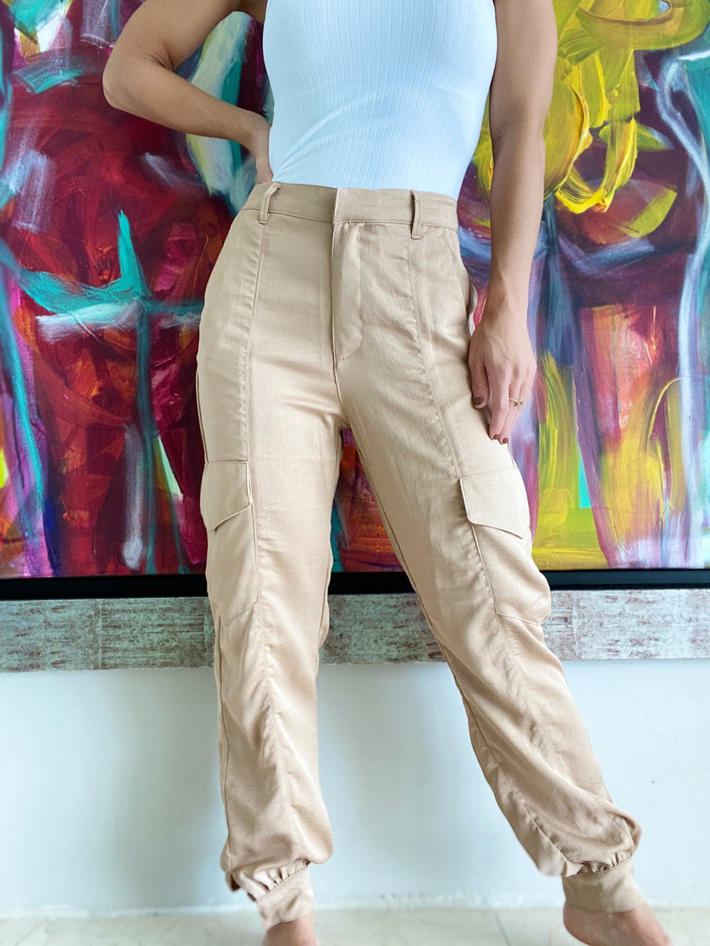 Satin Beige Pocket Jogger