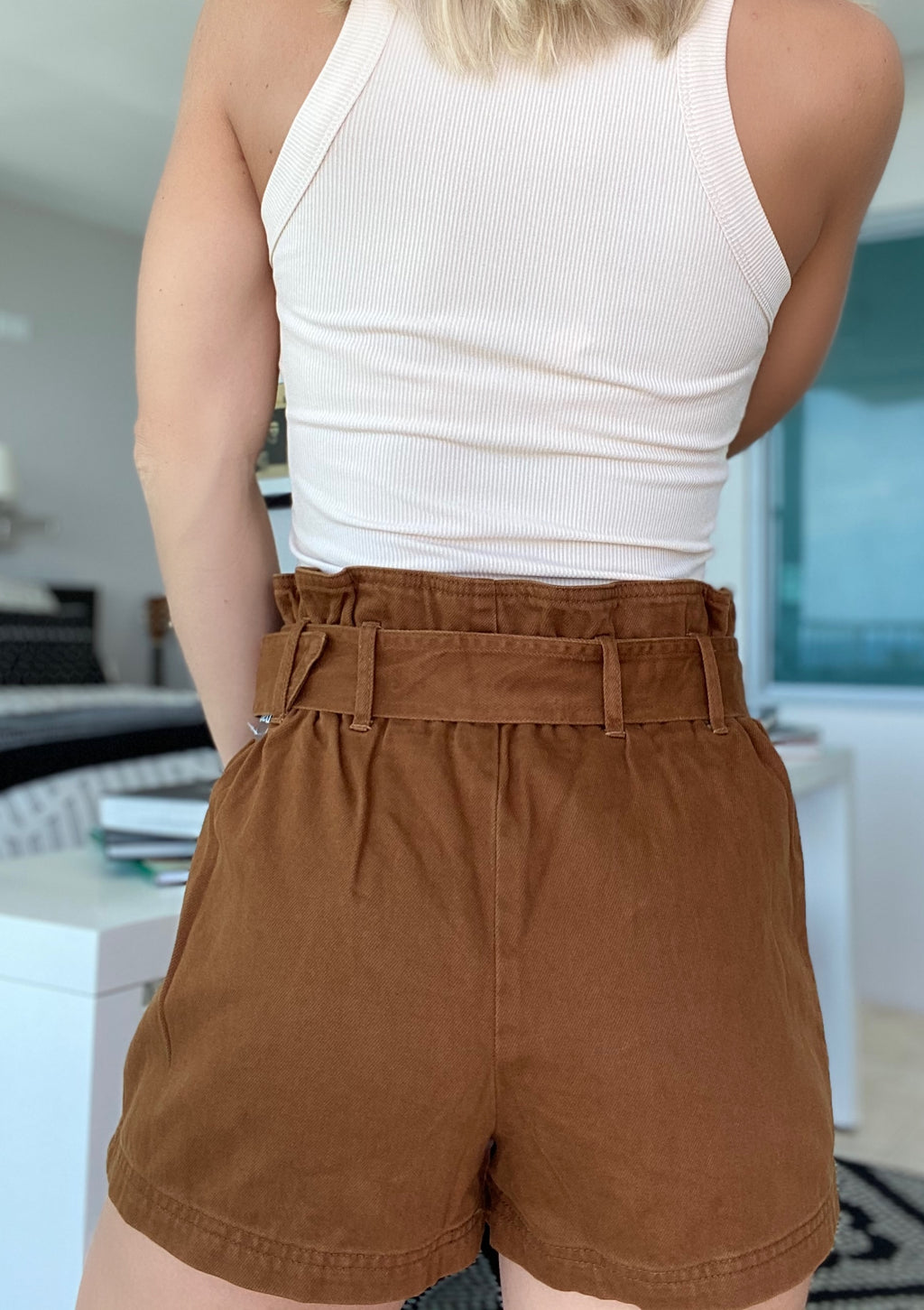 Paperbag Mocha Belt Short