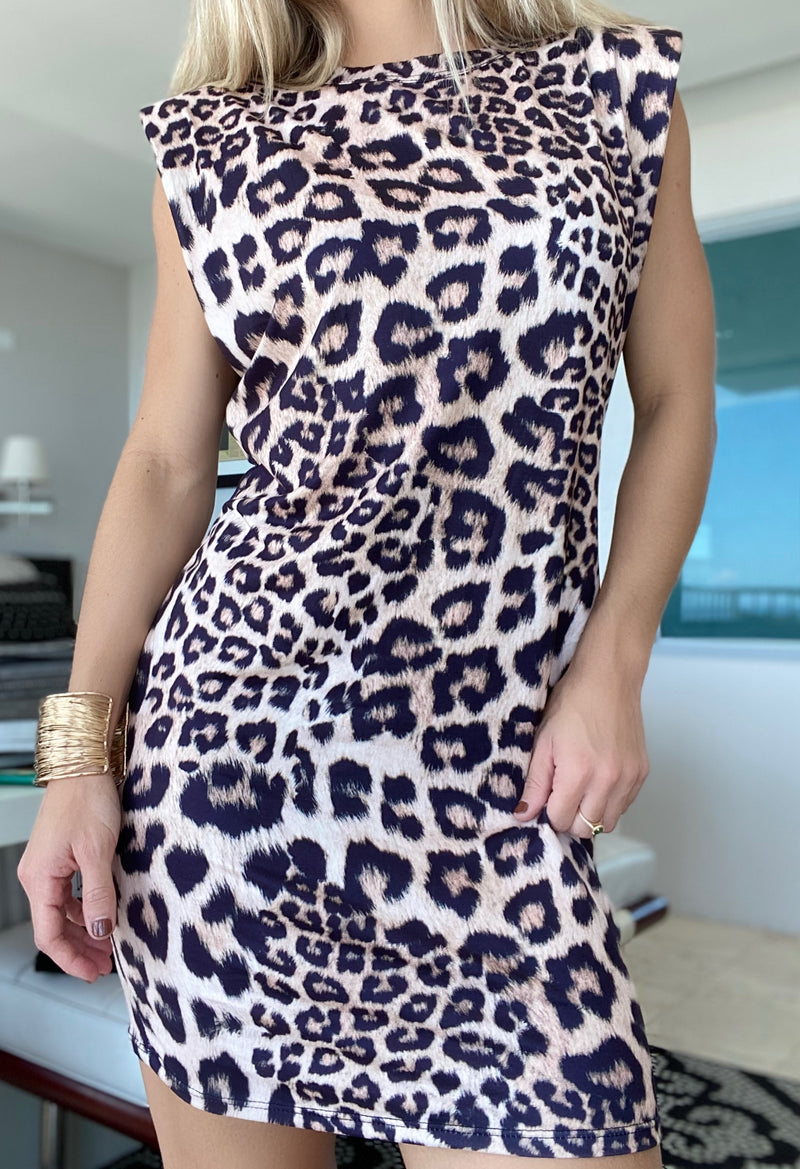 Leo Padded Shoulder Dress