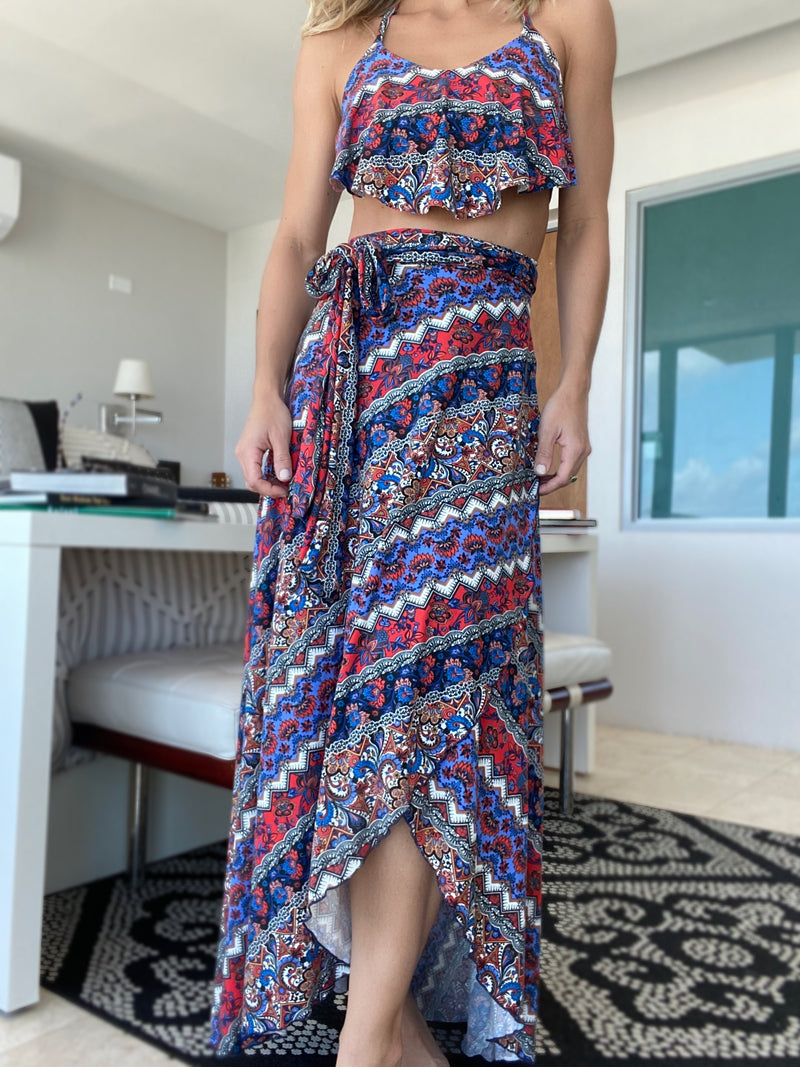 Pía Tribal Wrap Skirt