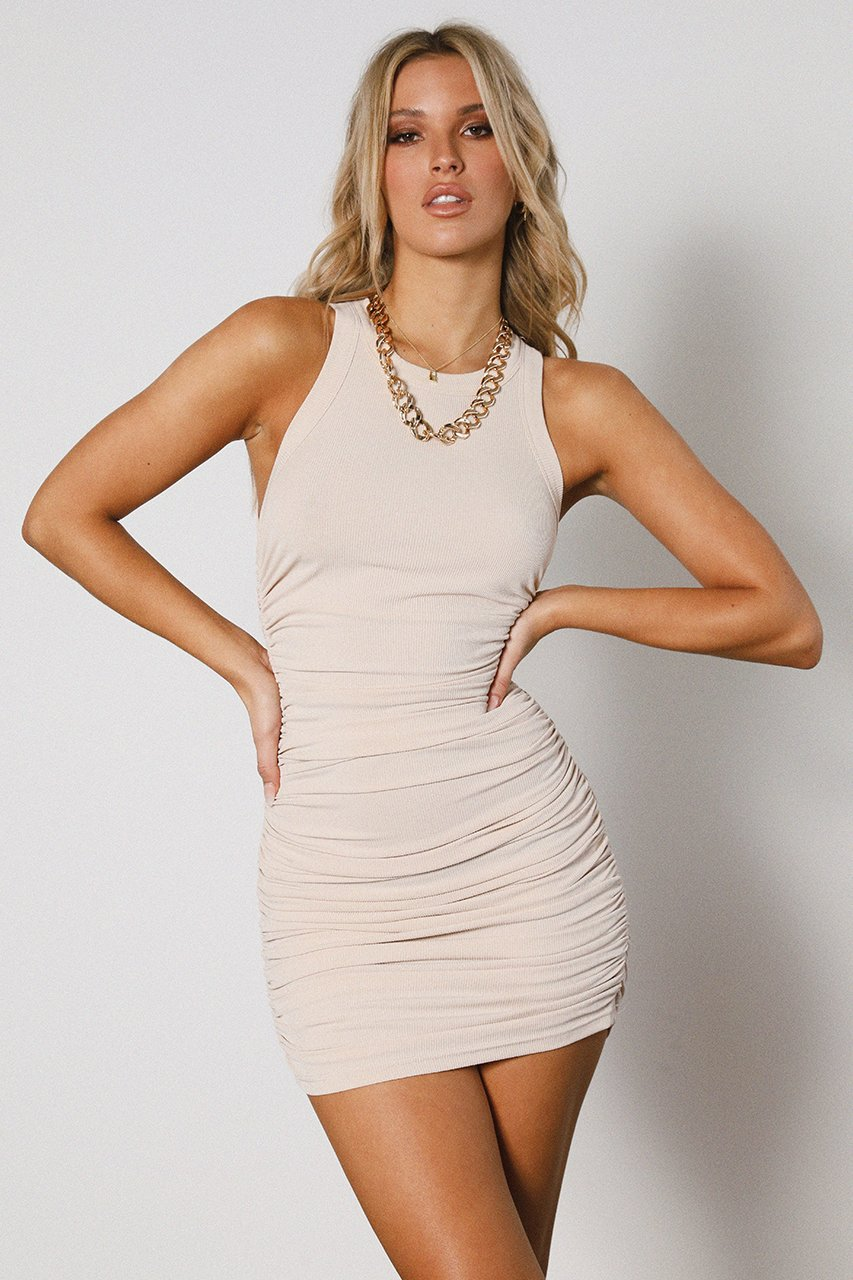 Sand Ruched Tank Dress