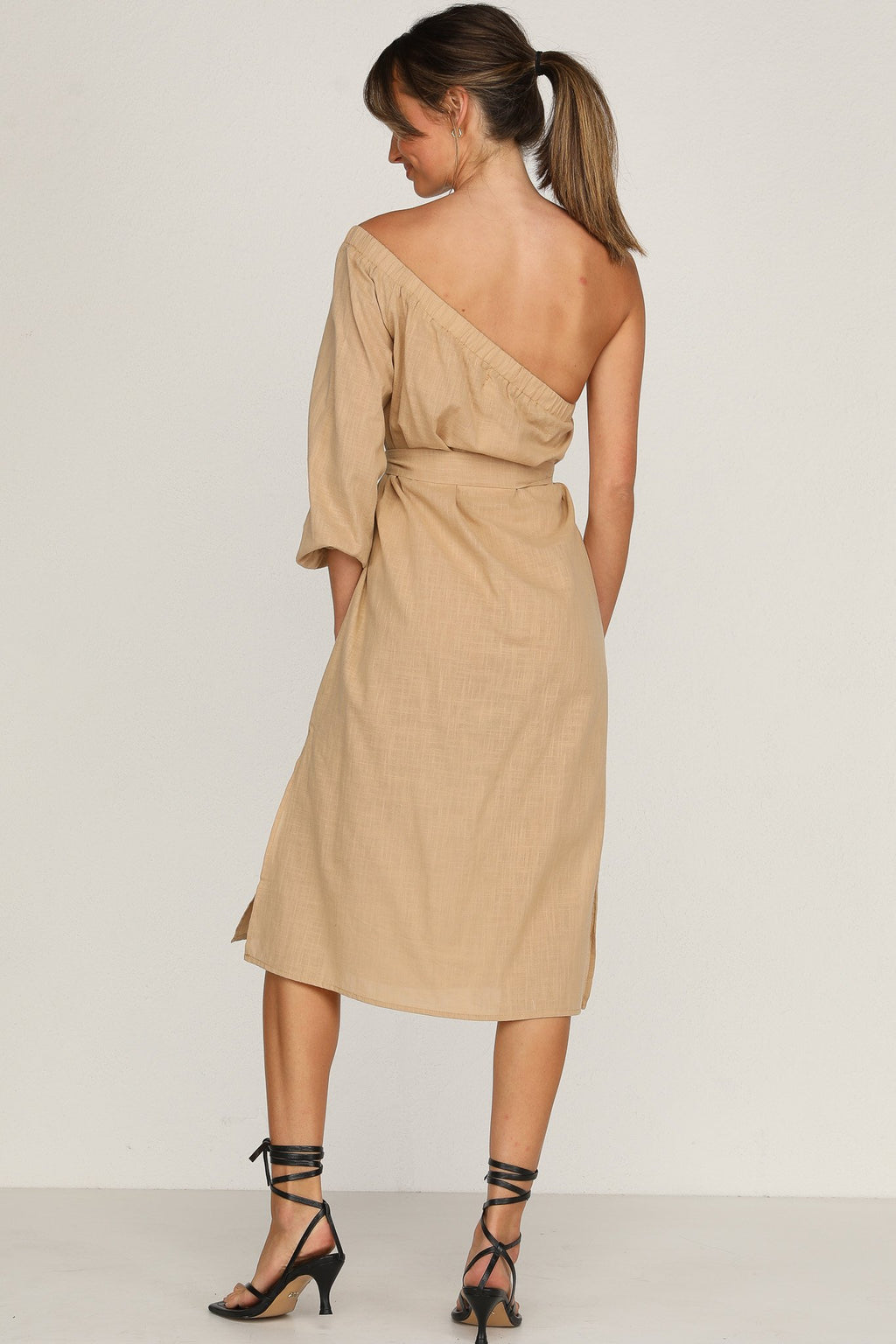One Shoulder Beige Midi