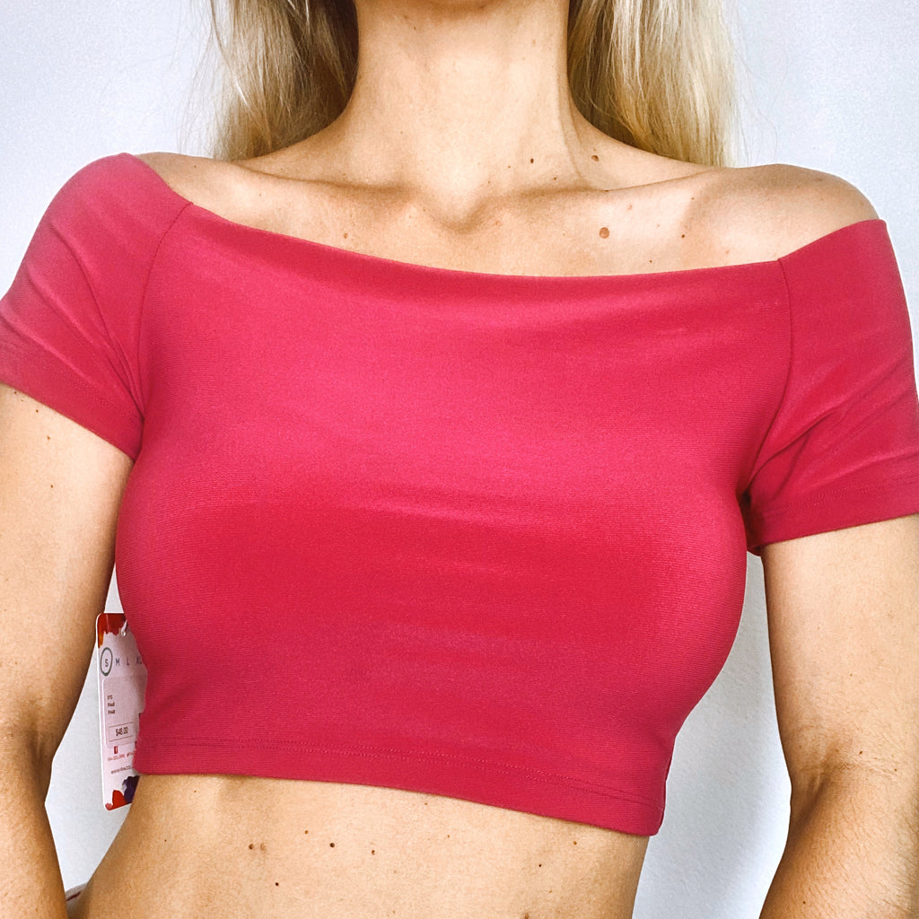 Pia Colors Off Shoulder Fitted Crop