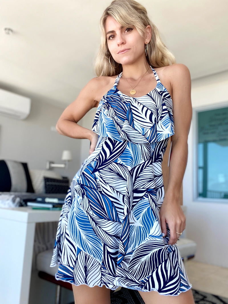 Leaf Flowy Mini Dress