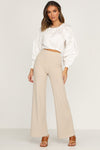 Beige Ribbed Pants