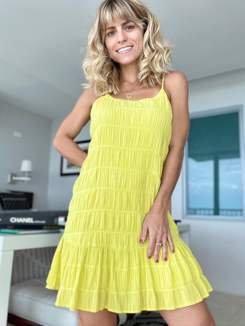 Citron Pleated Cami Dress